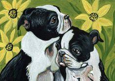 ACEO Original Art Painting Boston Terrier Puppies Pet Dog Art-Carla Smale #Impressionism