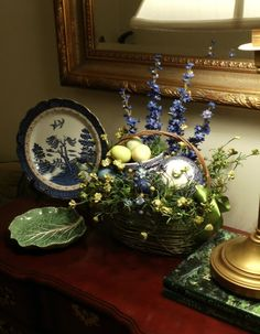 Upstairs Downstairs: Easter Basket and Blue Willow