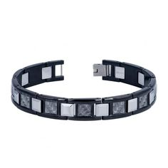 MSRP: $149.99  Our Price: $79.99  Savings: $70.00    ITEM NUMBER: TB436    Availability: Usually Ships in 5 Business Days    PRODUCT DESCRIPTION:    Crafted in durable tungsten carbide and stainless steel bracelet features a high polished black finish and gray carbon fiber inlay. The easy-to-wear clasp completes the look with a secure and comfortable fit. The Bracelet measures 8.5 inches in Length and each link is approximately 11.0 millimeters in width Perfect gift for Fathers Day…