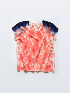 Silk Tee Coral & Raven Blue Shoulder Inkblot