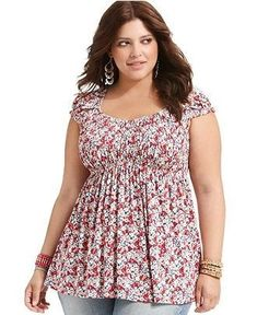 American Rag Plus Size Top, Short-Sleeve Floral-Print - Plus Size Tops - Plus… Plus Size Suits, Plus Size Tops, Plus Size Women, Plus Size Dresses, Plus Size Short Sleeve Tops, Big Wedding Dresses, African Wedding Dress, Curvy Fashion, Plus Size Fashion