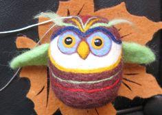 Brown,  Owl, Handmade ornamental toys, needle felting, puppets, animals, craft, art, pets, teachers, wool, fruits, felt, toys, ornaments, decoration, unique gift