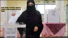 Mujer saudi votando por primera vez en la historia de Arabia Saudita