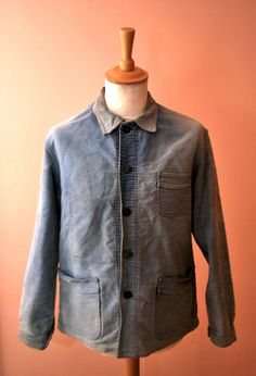 1940s FRENCH FADED MOLESKIN REPAIRED CHORE JACKET WORK WORKWEAR.hobo.paysan | eBay