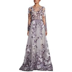 Mikael D Lilac Floral Embroidered Gown ($5,955) ❤ liked on Polyvore featuring dresses, gowns, apparel & accessories, lilac, purple gown, purple evening dresses, long sleeve gowns, lilac evening dress and long sleeve evening gowns