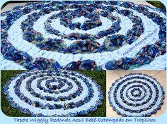 Tapete Wiggly Redondo em Trapilhos ou Fio de Malha, Round Wiggly - Crochet Rag Rug