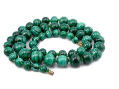 Malachite Bead Necklace, 1960s Vintage, 4-9MM Beads, Estate Jewelry, 115 Grams, Green Necklace, Natural Gemstone, Necklace, Malachite by VintageGemz on Etsy