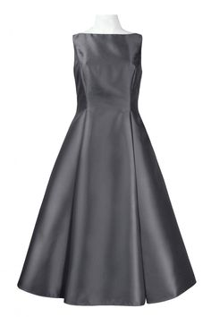 From Adrianna Papell, this A-line taffeta dress features: - High boat neckline - Sleeveless silhouette - Fitted bodice - Pockets at hips - V-back - Fit hits below knees - Zipper closure at back - Poly