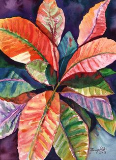Colorful Tropical Leaves 1 Original Watercolor Painting of Tropical Foliage from Kauai Hawaii by Marionette  orange blue pink purple