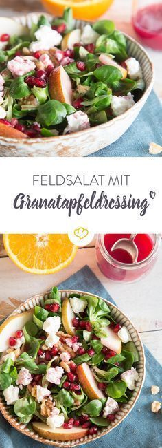 Salat ist alles andere als langweilig. Dank Birne, Walnüssen, Fetakrümeln und Granatapfelkernen kommt frischer Schwung zwischen deine Feldsalatblätter.