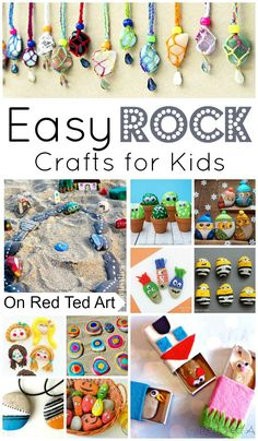 Easy Rock Crafts for Kids - my kids love collecting rocks when on holiday. Here are some wonderful easy rock crafts for kids to make!