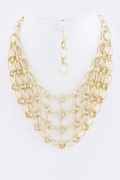 Net Bib Necklace & Earring Set