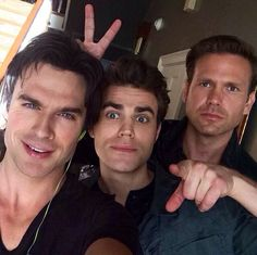 Ian Somerhalder, Paul Wesley and Matt Davis as Damon Salvatore, Stefan Salvatore and Alaric Saltzman from The Vampire Diaries ~ Season 6