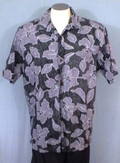 Bishop St. Apparel Gray XL Reverse Print Hawaiian Shirt Floral Design Cotton #BishopStApparel #Hawaiian