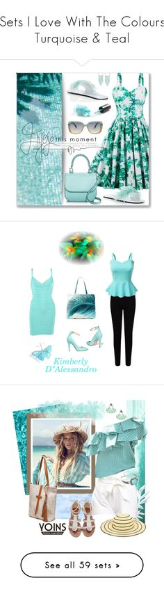 """Sets I Love With The Colours Turquoise & Teal"" by kimberlydalessandro ❤ liked on Polyvore featuring Prada, MaxMara, Roland Mouret, Humble Chic, vintage, Hervé Léger, EAST, Doublju, Amuse Society and Gucci"