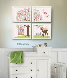 Baby Boy Nursery Art , Kids Room Nursery Decor, Owl Nursery Decor , Set of Four Boys Room Decor - Woodland Animals