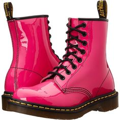 Dr. Martens 1460 W (Hot Pink Patent) Women's Lace-up Boots ($90) ❤ liked on Polyvore featuring shoes, boots, pink, mid-calf boots, calf length boots, patent leather lace up boots, lacing boots, front lace up boots and patent lace up boots