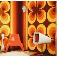 Behang Retro Cirkels - bruin/oranje