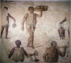 An ancient Roman mosaic depicts slaves at work.