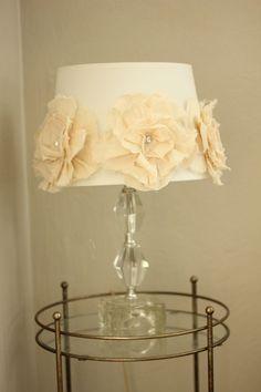 Fabric flower lamp DIY Flores tela lampara pantalla decor romantic