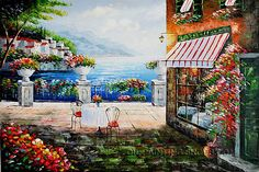 """Enchanting Online Art Buy Painting Reproduction Mediterranean Coast Oil Painting Italy Cafe, Size: 36"""" x 24"""", $104. Url: http://www.oilpaintingshops.com/enchanting-online-art-buy-painting-reproduction-mediterranean-coast-oil-painting-italy-cafe-1826.html"""