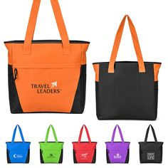 da84162b4ff Colorful Zip Top Tote Bags #tradeshowbags #TradeshowSwag #CustomToteBags  Company Swag, Trade Show. PROMOrx