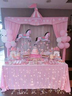 Ideas For Baby Shower Girl Globos Dessert Tables Carousel Birthday Parties, Carousel Party, Circus Birthday, Unicorn Birthday Parties, Birthday Decorations, Shower Bebe, Girl Shower, Baby Shower Themes, Baby Shower Decorations