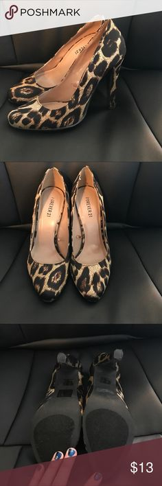 Cheetah print heels VGUC! Worn maybe three times Forever 21 Shoes Heels