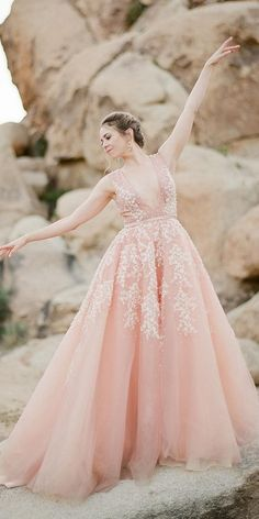 Color Trend: 18 Blush Wedding Dresses You Must See ❤ blush wedding dresses a line v neckline lace floral bowtie and bloom ❤ #weddingdresses #weddingoutfit #bridaloutfit #weddinggown