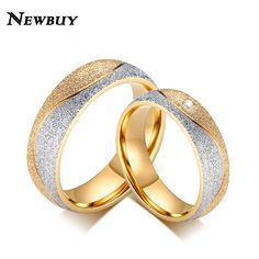 [Visit to Buy] NEWBUY 2017 Fashion Couple Engagement Ring For Women Men Gold-color Sand Blasted Stainless Steel CZ Wedding Ring For Lover #Advertisement