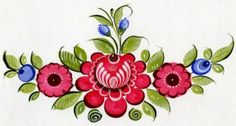 Folk Gorodets painting from Russia. A floral pattern. #art #folk #painting #Russian