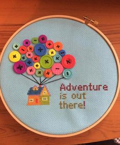 Cross stitch of Disney/Pixar's Up. This was my first cross stitch piece ever. Adventure is out there!