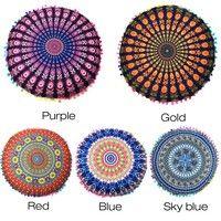 Indian Mandala Floor Pillows Round Bohemian Cushion Cushions Pillows Cover Case Feature:      100%