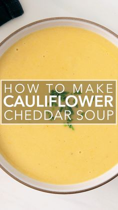 This smooth, creamy cauliflower soup with sharp cheddar cheese is absolutely what you want on a chilly day. It's ready in under an hour. Serve with some crusty bread and a side salad! Healthy Soup Recipes, Vegetarian Recipes, Cooking Recipes, Blended Soup Recipes, Puree Soup Recipes, Cauliflower Cheddar Soup, Cream Of Cauliflower Soup Recipe, Cheddar Cheese Soup, Pureed Soup