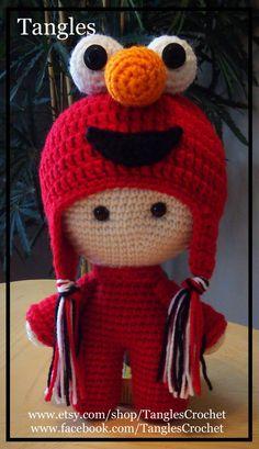 Muñeca de cabeza grande inspirado Elmo