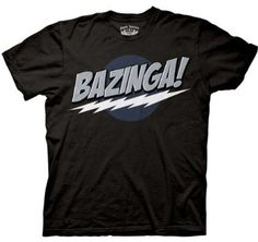 Big Bang Theory Black Bazinga! Men's T-Shirt  Medium (Black)