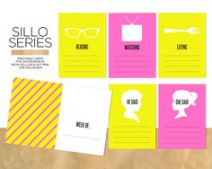 Sillo Series / Printable Journal Cards. Five 3x4 silhouette designs include Reading, Watching, Eating, He Said and She Said. Each of these designs come in both hot pink and neon yellow. Use the coordinating 4x6 card to mark a week in time.