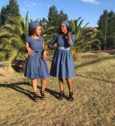 Shweshwe Traditional Dresses for Bridesmaids - Reny styles African Print Fashion, African Fashion Dresses, African Clothes, African Prints, Traditional African Clothing, Traditional Dresses, African Wear, African Attire, Shweshwe Dresses
