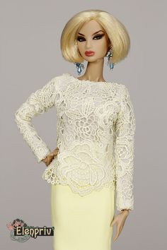 ELENPRIV yellow lace top Fashion royalty FR2 Color Infusion NuFace Dolls Outfit #Elenpriv