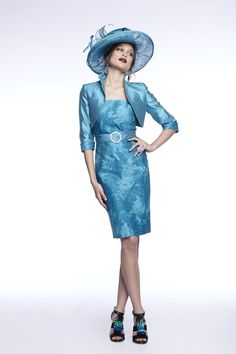 50% Off... Luis Civit, Bolero & Dress X62.S.794, colour 210 Aqua Blue. (Size 20)