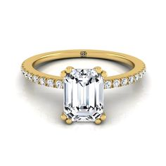 Classic Petite Split Prong Emerald Cut Diamond Engagement Ring In 14k Yellow Gold (1/6 Ct.tw.)