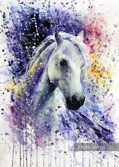 Horse.Watercolor painting #pictorial art#aquarelle#artistic print,figurative,scenic,poster