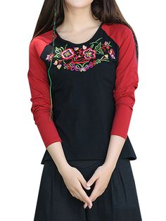 Sale 11% (25.89$) - Vintage Embroidery Patchwork O-Neck Long Sleeve Women Ethnic T-Shirt