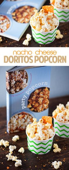 Nacho Cheese Doritos Popcorn - a fun and easy snack for kids! Flavored Popcorn, Popcorn Recipes, Snack Recipes, Gourmet Popcorn, Doritos, Yummy Treats, Yummy Food, Tasty, Fun Food