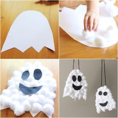 How to make Halloween ghosts out of cotton and paper for . - Halloween Make Up Ideen - How to make Halloween ghosts out of cotton and paper for . - Halloween Make Up Ideen - Halloween Arts And Crafts, Halloween Decorations For Kids, Halloween Crafts For Toddlers, Theme Halloween, Halloween Activities, Halloween Ghosts, Toddler Crafts, Halloween Costumes For Kids, Halloween Party