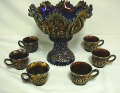 NORTHWOOD PURPLE CARNIVAL MEMPHIS PUNCH SET Old Fashioned Candy, Ribbon Candy, Punch Bowl Set, Rainbow Glass, Carnival Glass, Memphis, Colored Glass, Rainbows, All The Colors