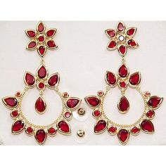 Pre-owned Amrita Singh Gold Plated Princepessa Ruby Red Crystal Post Earrings Er featuring polyvore fashion jewelry earrings accessories red gold plated earrings gold plated jewelry pre owned jewelry post earrings preowned jewelry