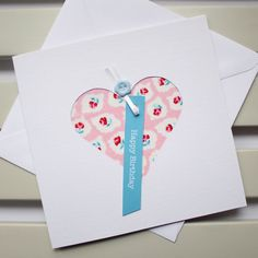 Happy Birthday Handmade Heart Card – Pink and Blue Floral Fabric