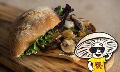 #FunGuy Grilled Mushroom Sandwich with Fresh Lemon Yogurt Sauce.