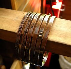 Cinnamon Jewellery: New Copper Bangles - Stamped Designs And Leaf Vein Texture